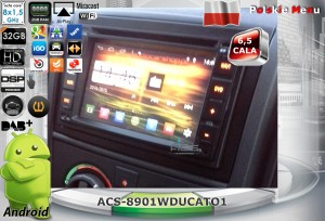 Fiat Ducato 2007-2010   ACS-8901WDUCATO1  Android 8 CPU 8x1.5GHz Ram 2GHz Dysk 32GB Ekran HD MultiTouch OBD2 DVR DVBT BT Kam DVD