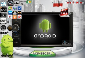 ACS-8802RL Android 9 CPU 8x1.87GHz Ram4GB Dysk32GB DSP DVD GPS Ekran HD MultiTouch OBD2 DVR DVBT BT Kam