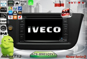Iveco Daily 2014+   ACS-8901QIV2  Android 7.1.2 RAM 2GB CPU 4x1.6GHz Dysk 16GB GPS Ekran HD MultiTouch DAB TPMS OBD2 DVR DVD DVBT BT KAM